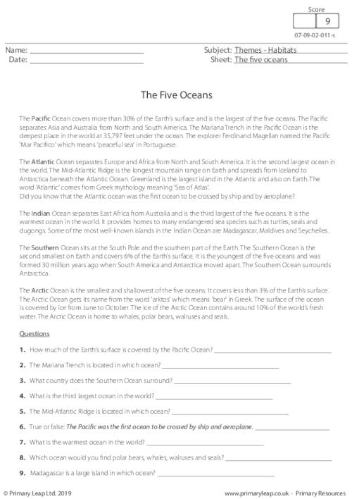 Reading comprehension - The Five Oceans