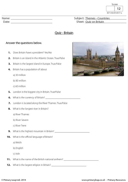 Quiz on Britain
