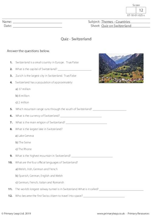 Quiz on Switzerland
