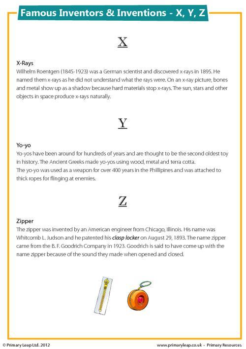 Famous Inventions & Inventors - X, Y, Z