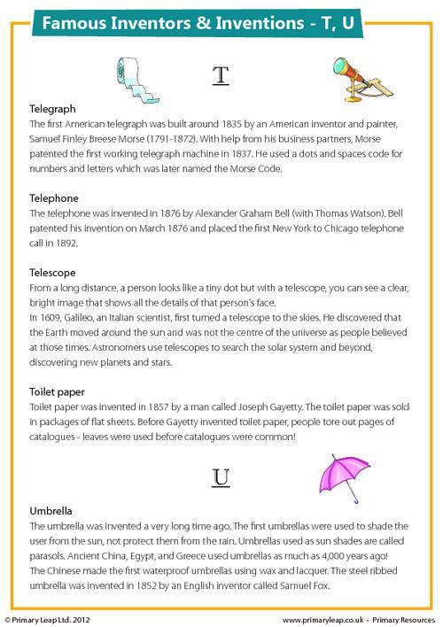 Famous Inventions & Inventors - T, U