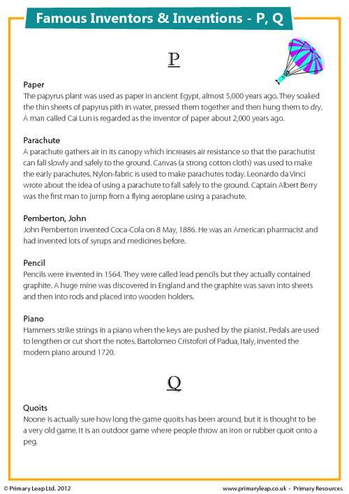 Famous Inventions & Inventors - P, Q