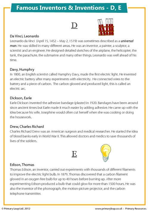 Famous Inventions & Inventors - D, E
