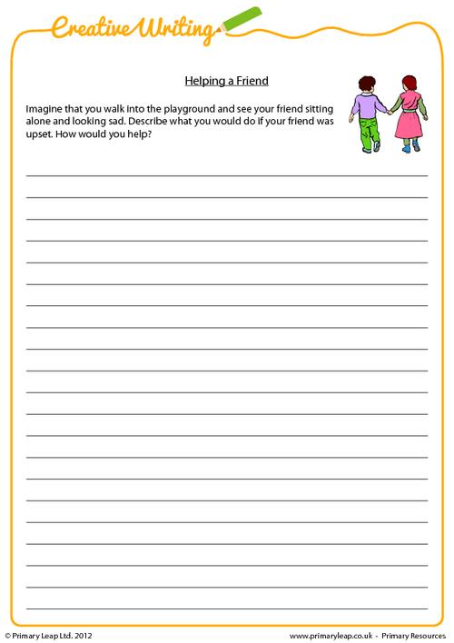 Creative Writing: Creative Writing Helping A Friend Worksheet  PrimaryLeap.co.uk