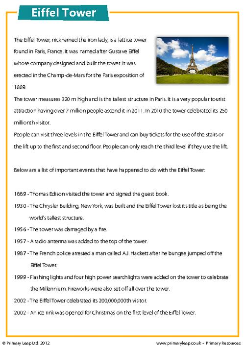The Eiffel Tower - Comprehension