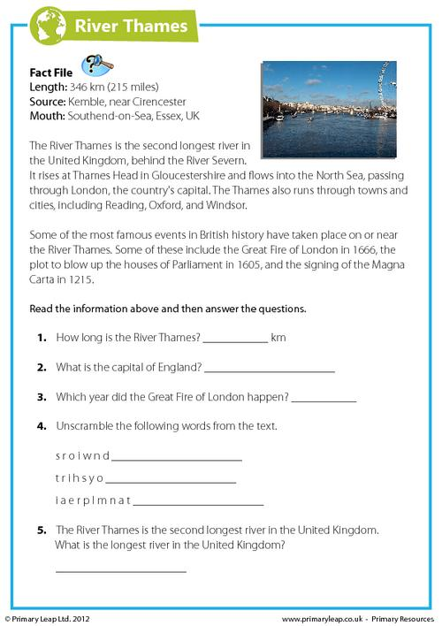 Comprehension - The River Thames