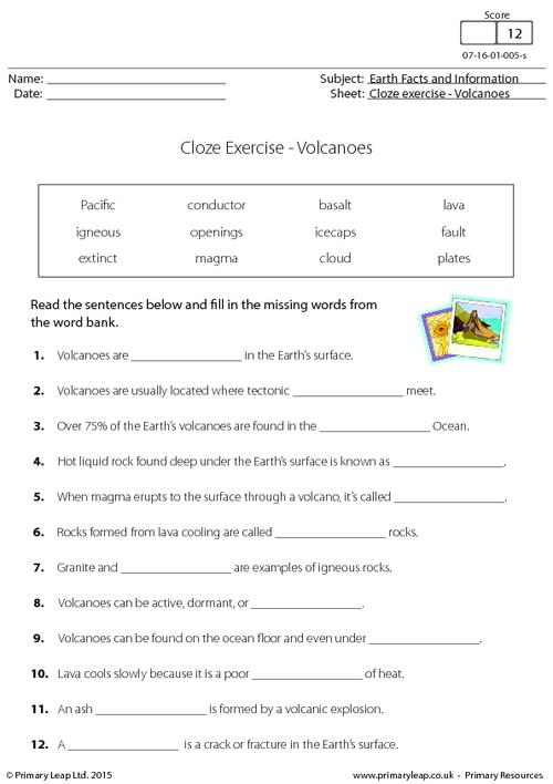 Cloze Exercise - Volcanoes