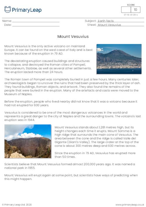 Reading Comprehension - Mount Vesuvius
