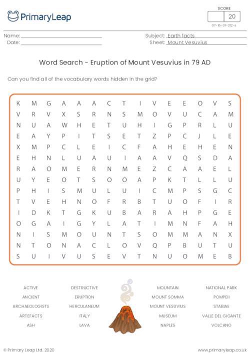 Word Search - Eruption of Mount Vesuvius