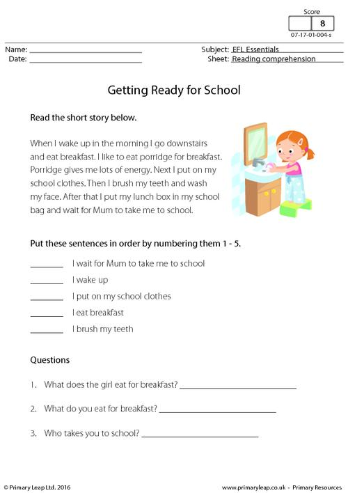 EFL Comprehension - Getting Ready for School