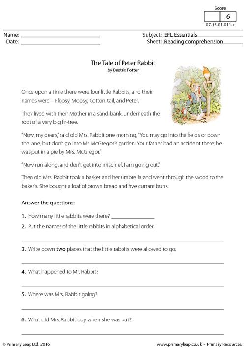 EFL Comprehension - The Tale of Peter Rabbit