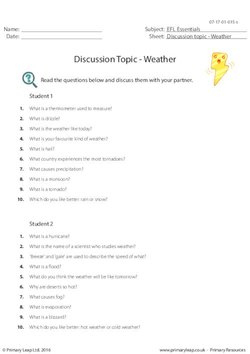 Discussion Topic - Weather