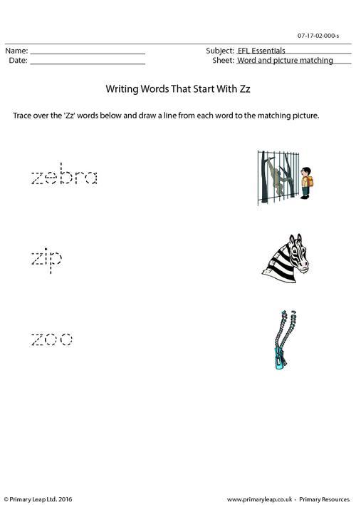 EFL Essentials - Words That Start With Zz