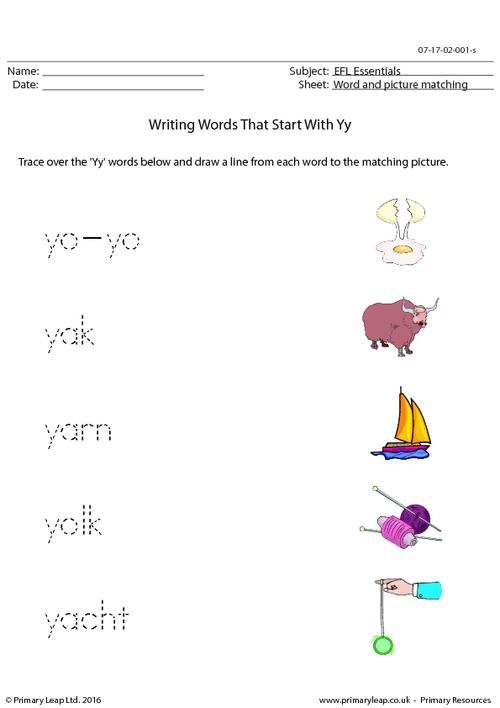 EFL Essentials - Words That Start With Yy