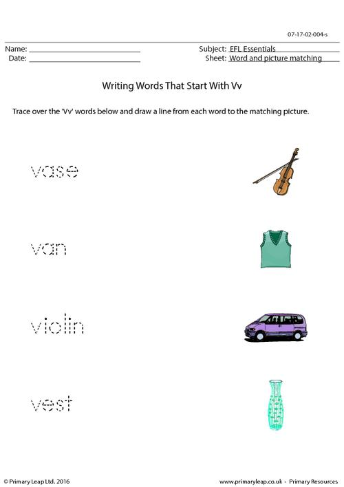 EFL Essentials - Words That Start With Vv