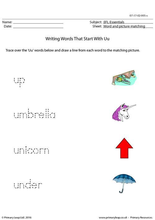 EFL Essentials - Words That Start With Uu