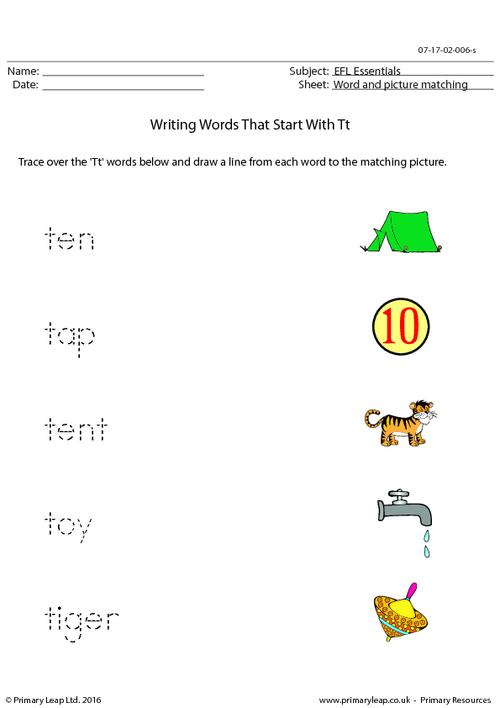EFL Essentials - Words That Start With Tt