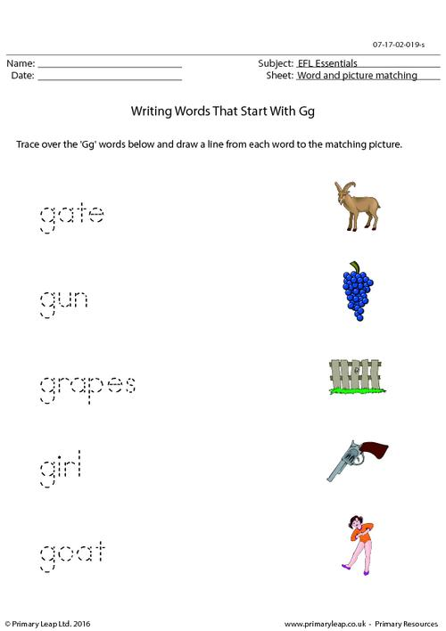 EFL Essentials - Words That Start With Gg
