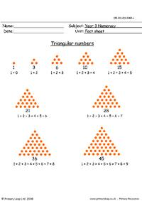Triangular numbers info sheet