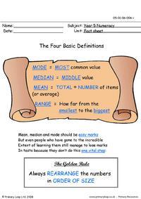 Mode, median, mean and range info sheet