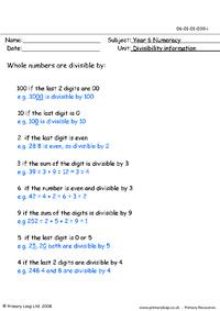 Divisibility info sheet