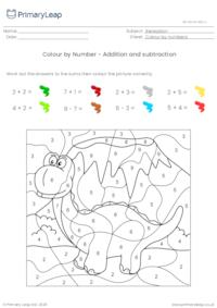 Colour by Number - Addition and subtraction (dinosaur)
