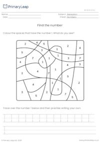 Find and trace the number 1