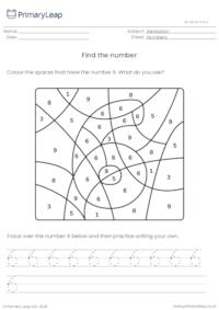 Find and trace the number 6