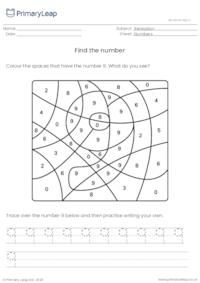 Find and trace the number 9