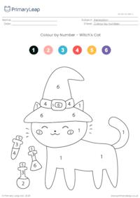 Colour By Number - Witch's Cat