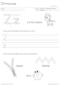 Alphabet tracing - Letter Zz