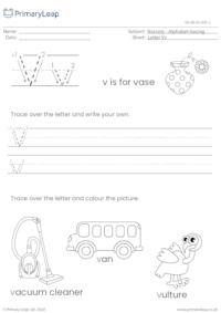 Alphabet tracing - Letter Vv
