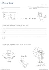 Alphabet tracing - Letter Uu