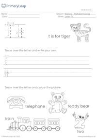 Alphabet tracing - Letter Tt