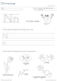 Alphabet tracing - Letter Nn