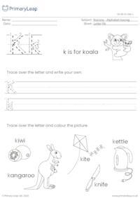 Alphabet tracing - Letter Kk