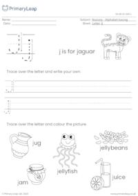 Alphabet tracing - Letter Jj