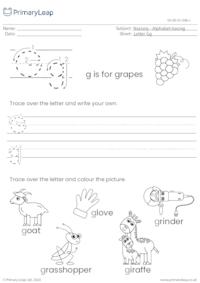 Alphabet tracing - Letter Gg