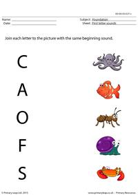 First letter sounds - Matching