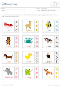 Beginning letter sounds (a, b, c, d, e, f)