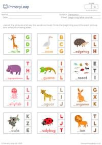 Beginning letter sounds (g, h, i, j, k, l)