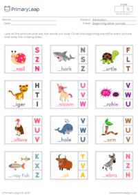 Beginning letter sounds (s, t, u, v, w, x, y, z)