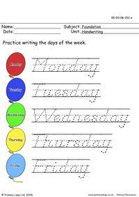 Handwriting days of the week