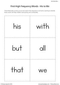 High Frequency Words - His to We