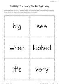 High Frequency Words - Big to Very