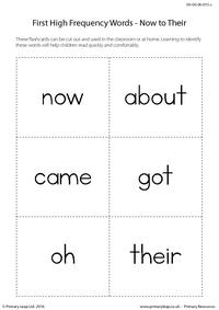 High Frequency Words - Now to Their