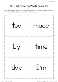 High Frequency Words - Too to I'm