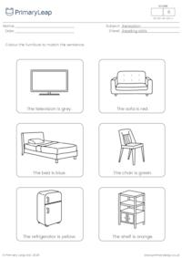 Read and colour - Furniture