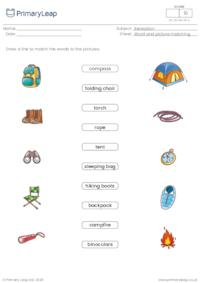 Word and picture matching - Camping