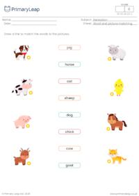 Word and picture matching - Farm animals